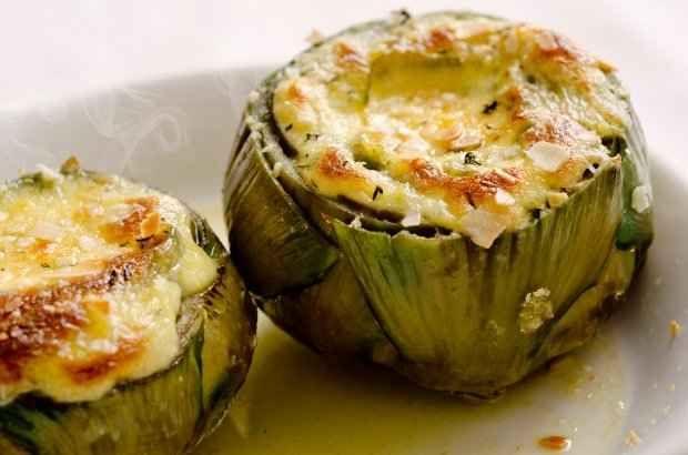 Blended with cream, baked inside an artichoke: