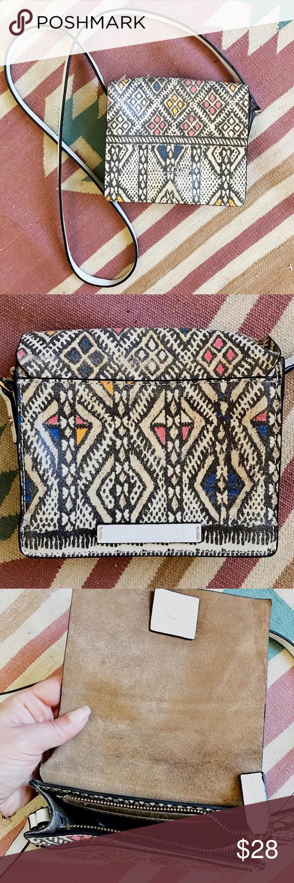 BCBG MAXAZRIA small cross-body Oh my gosh how I love this pattern, super cool BCBG leather bag w/long strap & zipper closure. BCBGMaxAzria Bags Crossbody Bags
