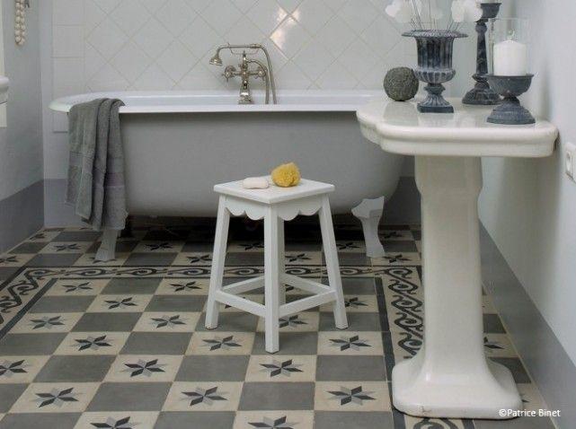 Carreaux de ciment gris salle de bains | salle de bain | Pinterest ...