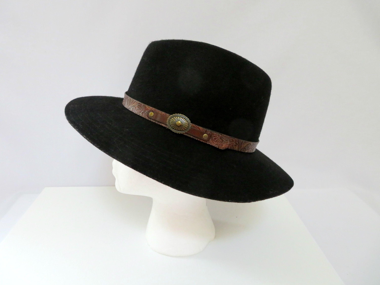 Vintage Betmar Black Wool Felt Fedora Hat Unisex Leather Hat Etsy Leather Hats Felt Fedora Black Wool