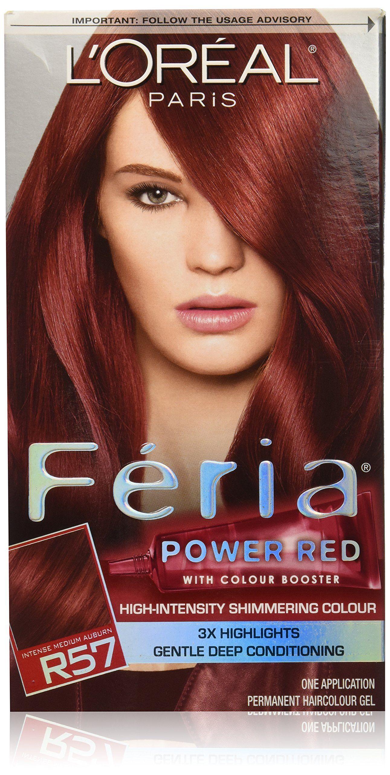 Loreal Feria Power Reds Hair Color R57 Intense Medium Auburn