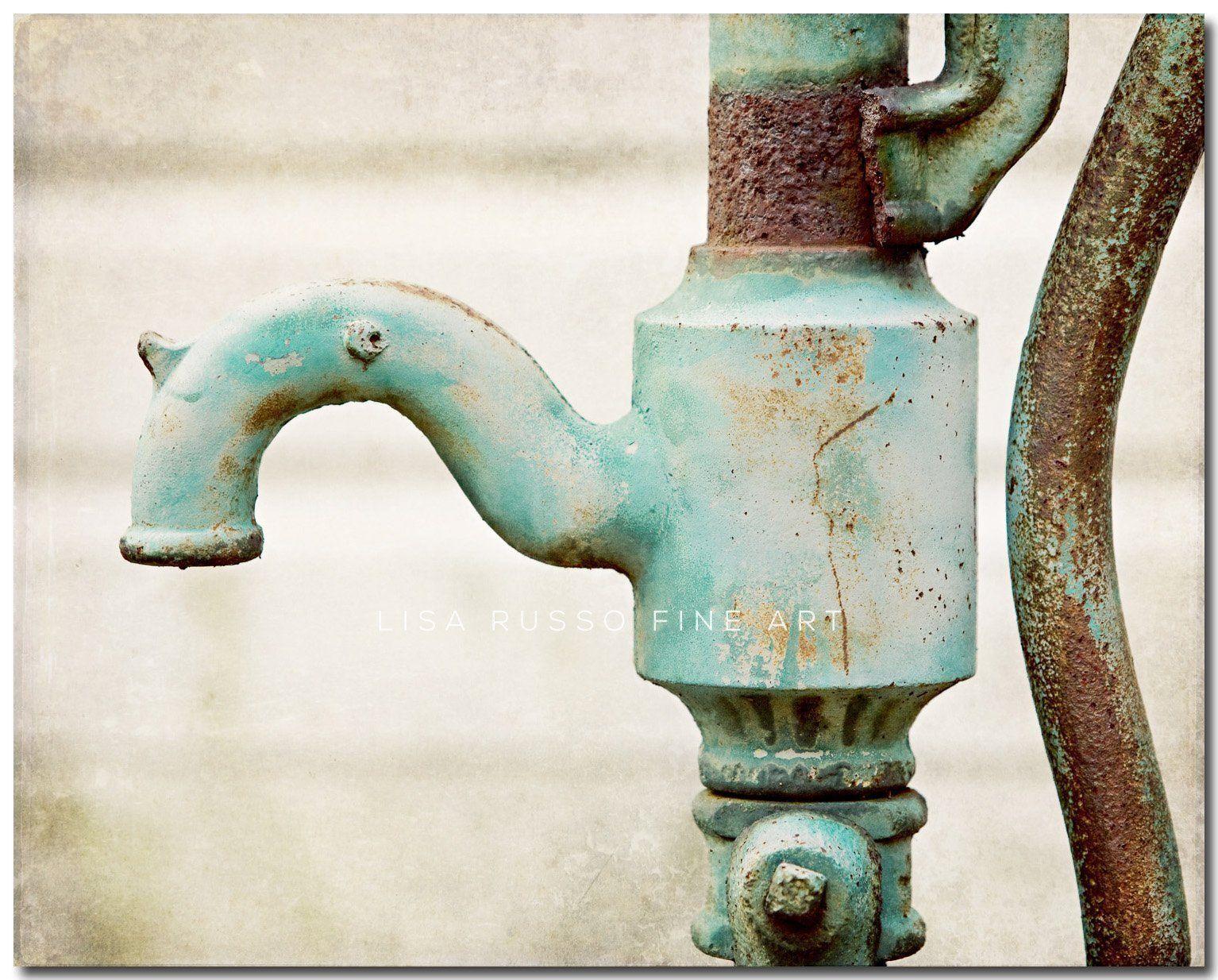 Rustic teal bathroom decor aqua bath vintage water faucet