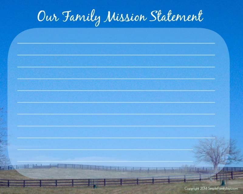 Mission Statement Template Pasture  Family Rules