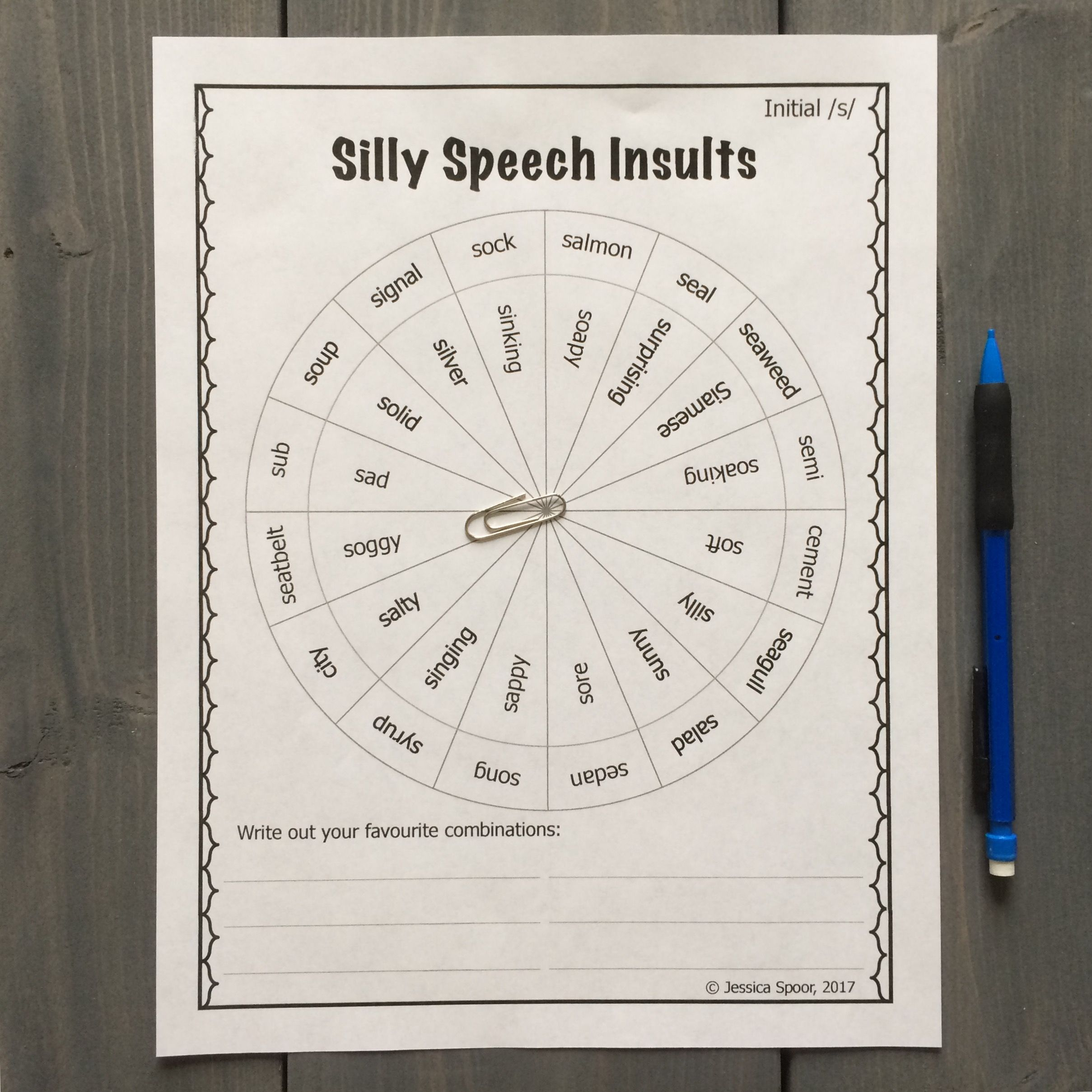 Silly Speech Insults A No Prep Activity For Later
