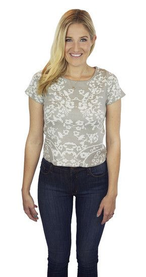 For Love and Lemons Cuddle Up Tee in Dove Floral at www.shopblueeyedgirl.com