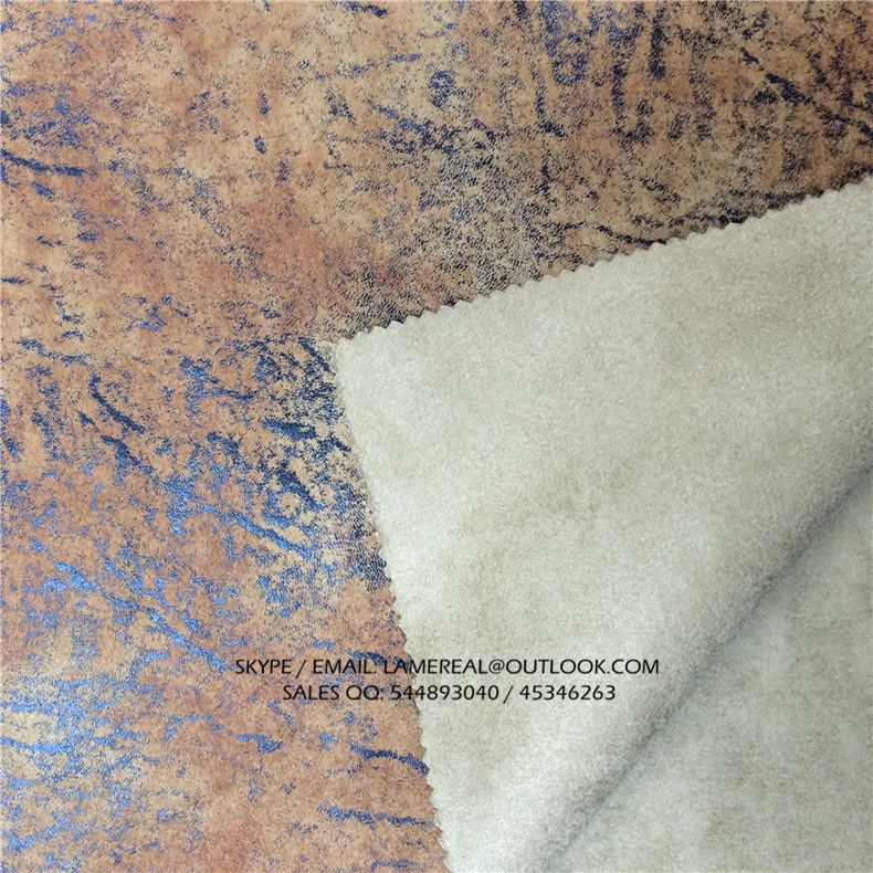 100 Polyester Suede Combine Golden First Layer Embossing Printed