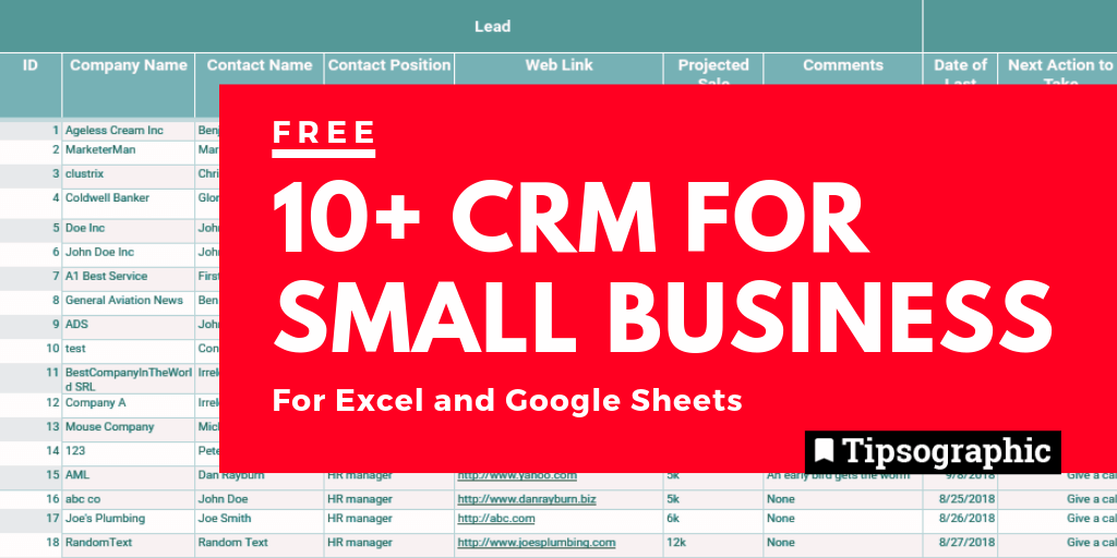 12 Free Crm For Small Business Excel And Google Sheets Free