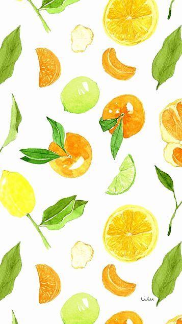 素材 壁紙 かわいい おしゃれ オレンジ レモン 黄色 イエロー カラフル