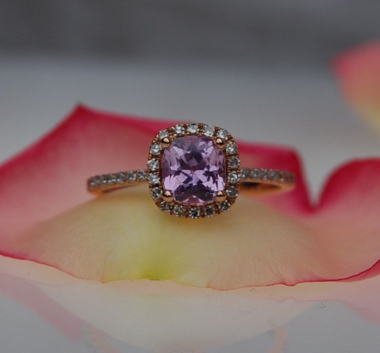1ct Square Cushion peach lavender champagne sapphire in 14k rose gold diamond ring. $1,200.00, via Etsy.