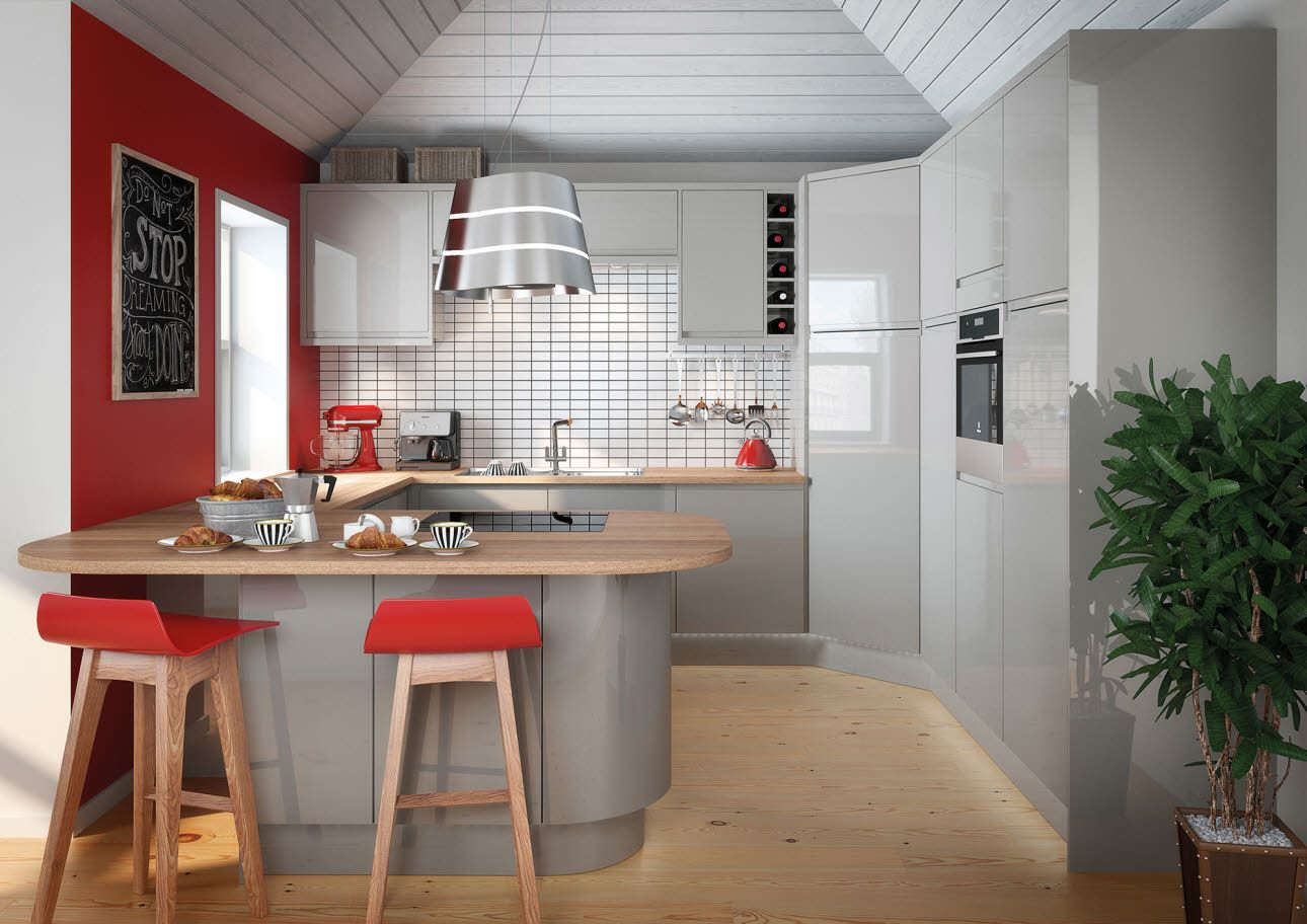 Planar Grey Contemporary kitchen, Grey kitchen