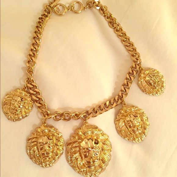 Statement Piece *Must Have Versace Inspired Gold Cuban Link Lion Statement Piece! Perfect To Dress Up Or Down. Worn Once.  Accessories
