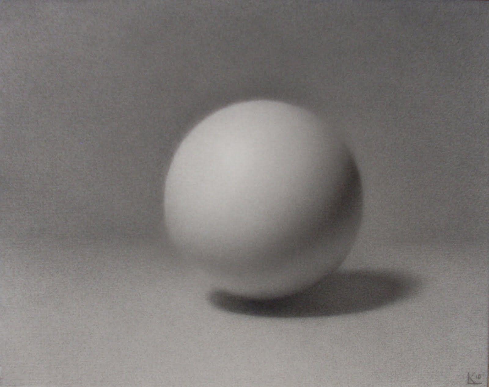 Katt Leeds Sphere Drawing Charcoal 8 X 10 Still Life Drawing