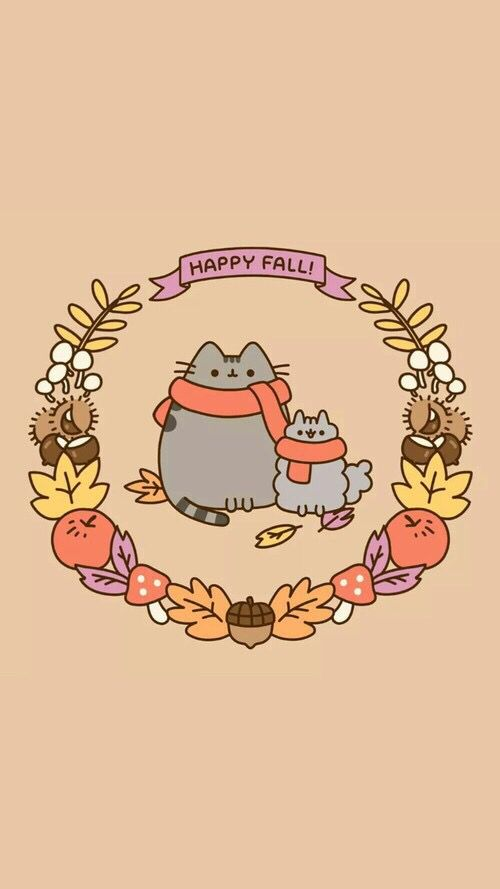 Happy Fall Pusheen Cute Fall Wallpaper Fall Wallpaper Pusheen Cat
