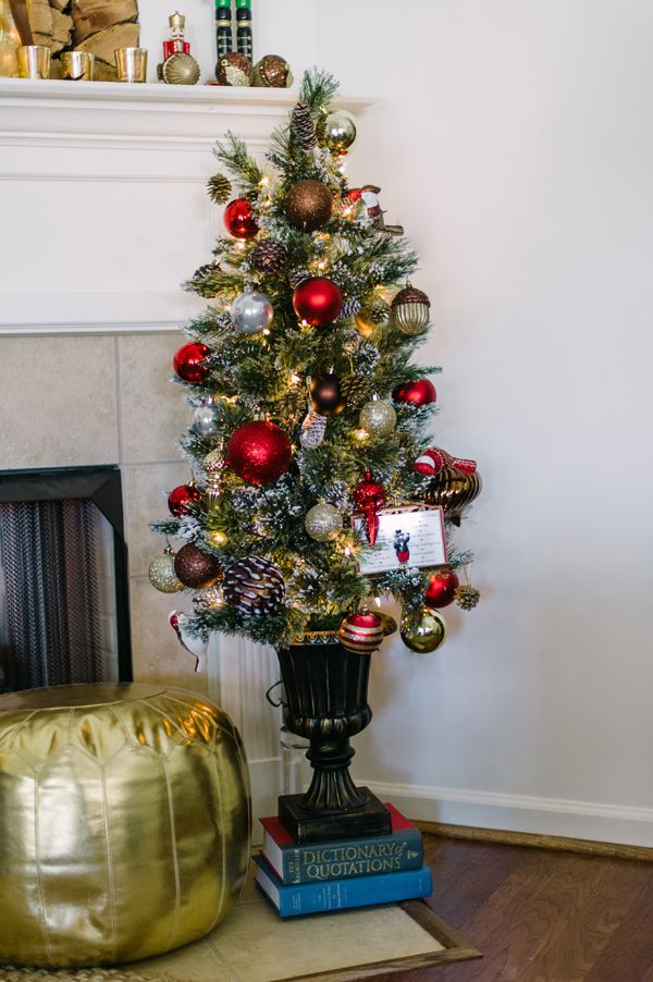 holiday decorating ideas from paula of two ellie a small 4 foot christmas tree decorated with ornaments