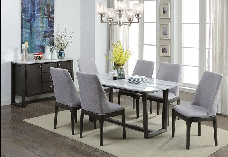 7 Pc Madan Gray Oak Finish Wood White Marble Top Dining Table Set This Set Includes The Table 6 Side Cha Dining Room Sets Marble Top Dining Table Furniture