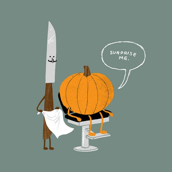 Holiday Humor   Halloween Pumpkin Carving Thanksgiving Surprise Barber Asks  How To Carve Pumpkinu0027s Halloween Haircut U201cCut A Little Off The Gourd?