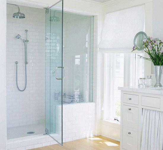 Would love to have a steam shower!  Light and Bright Walk-In Shower