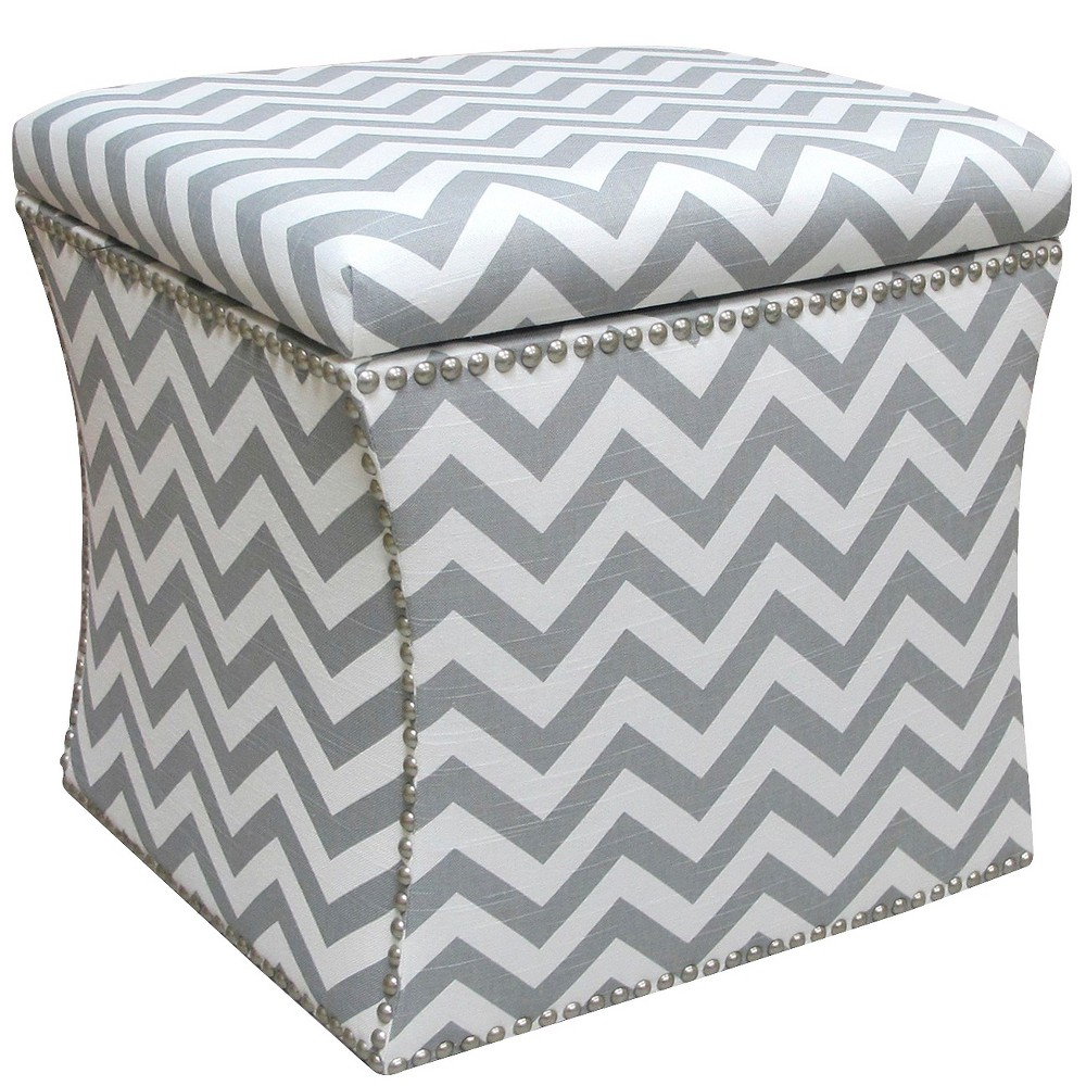 Awe Inspiring Nail Button Storage Ottoman Zig Zag Ash White Pewter Nail Ocoug Best Dining Table And Chair Ideas Images Ocougorg
