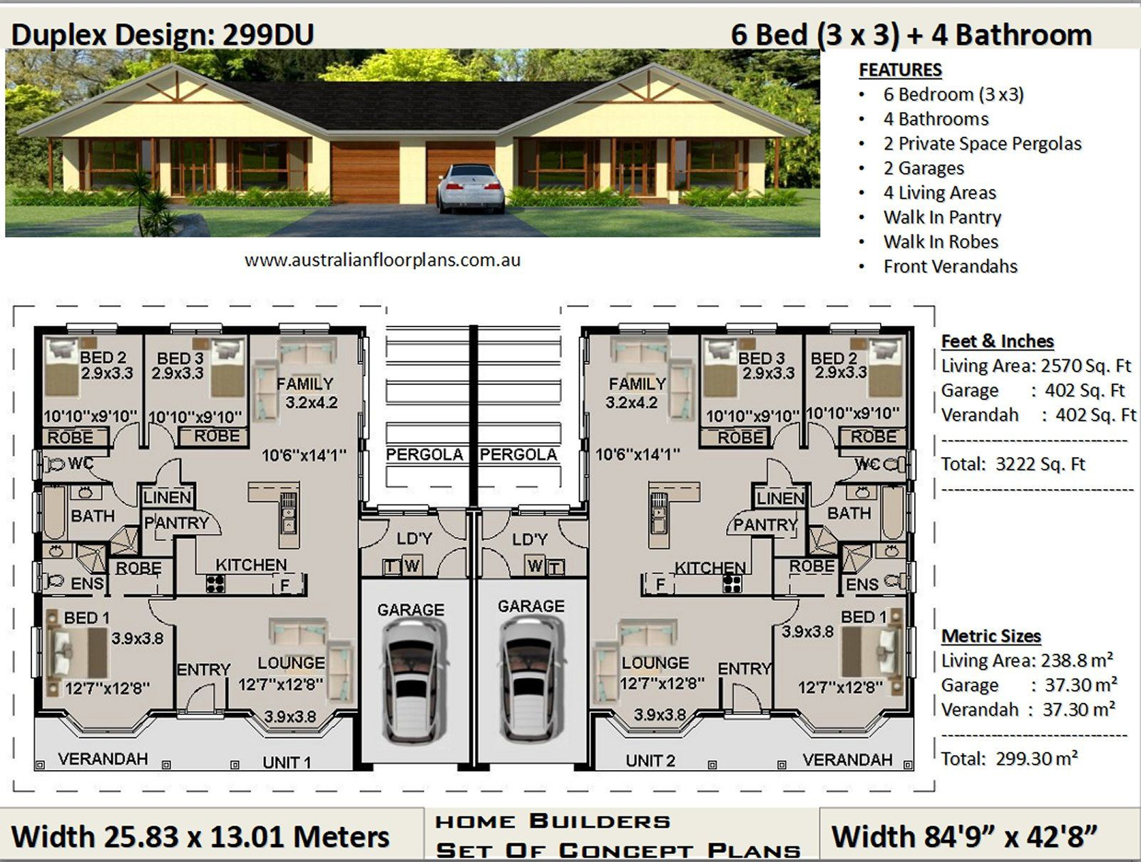 3222 Sq Feet 299 30 M2 Duplex House Plans 6 Bedrooms Etsy Duplex Design Duplex Floor Plans Duplex Plans