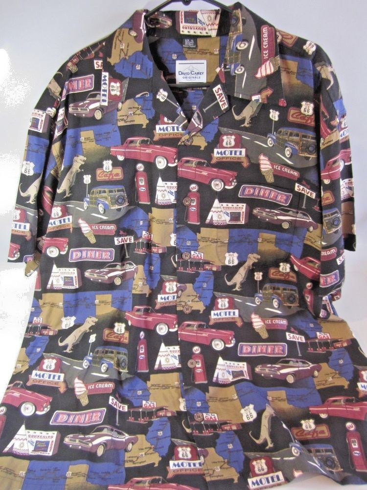 87cd7cf47 DAVID CAREY Route 66 Button Front Shirt ~ Men's XL ~ Dinosaur/Wigwam ...
