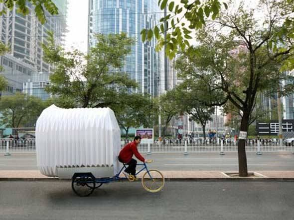 Tricycle house, mini casa-bike sustentável criada por chineses