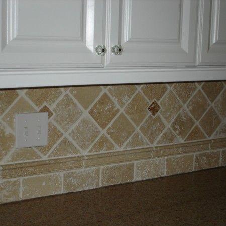 4x4 Travertine With Ogee Border Patterned Tile Backsplash Kitchen Backsplash Tile Designs Kitchen Backsplash Designs