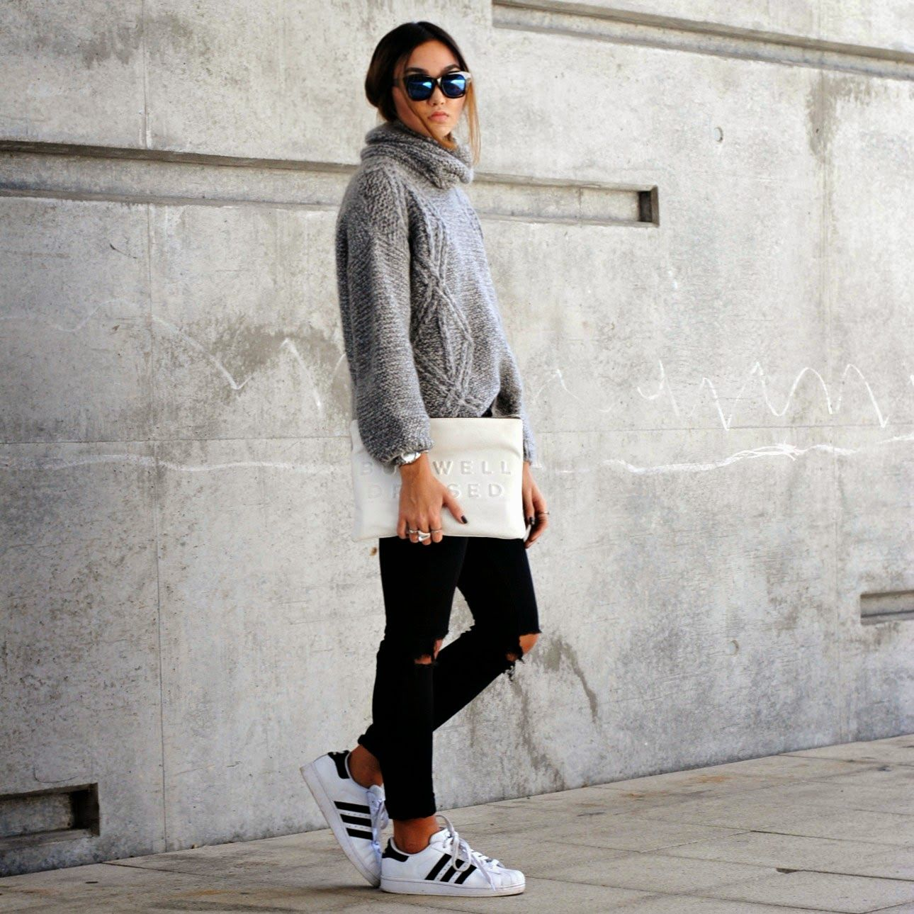 adidas superstar black with jeans women