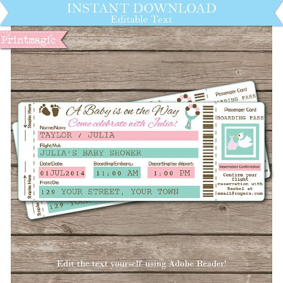 Airline ticket baby shower invitation airline ticket invitation instant download airline ticket baby shower by printmagic on etsy 795 filmwisefo