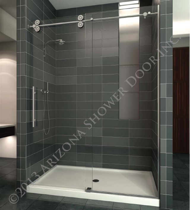Sedona Heavy Slider   Heavy Frameless Glass With Round Roller Bar, Ultra  Modern Roller System And Pull, Arizona Shower Door