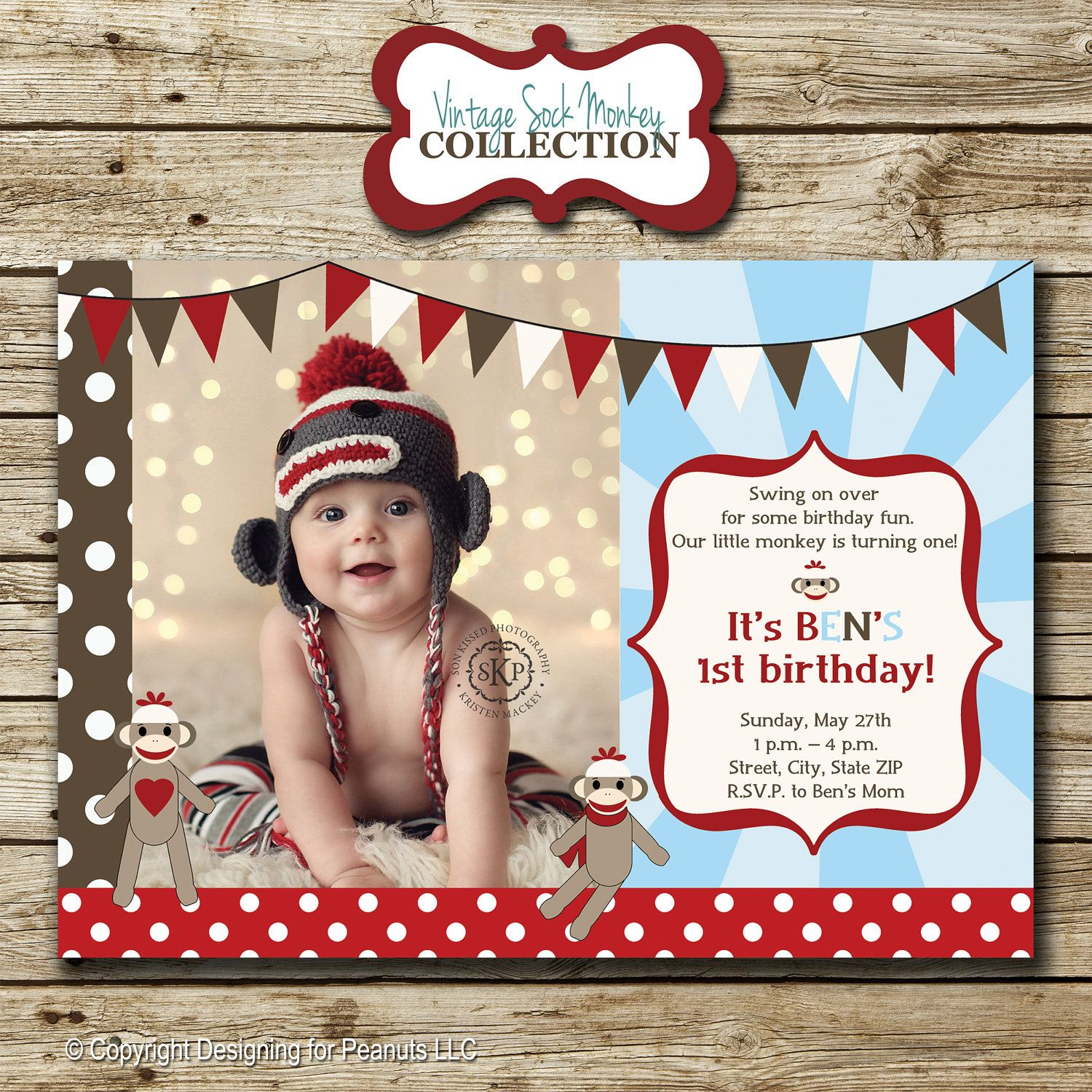 Sock Monkey Birthday Party Photo Invitation in red, brown, and baby ...