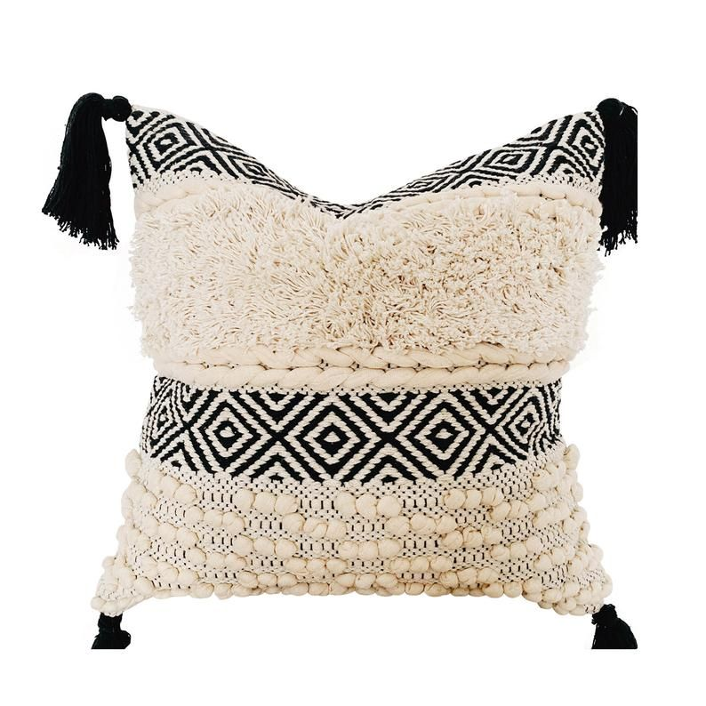 Boho Throw Pillow cover, Bohemian Pillow with Tassels, Black & Cream Cushion cover, Handwoven Boho Pillow, Moroccan Pillow, Textured Pillow