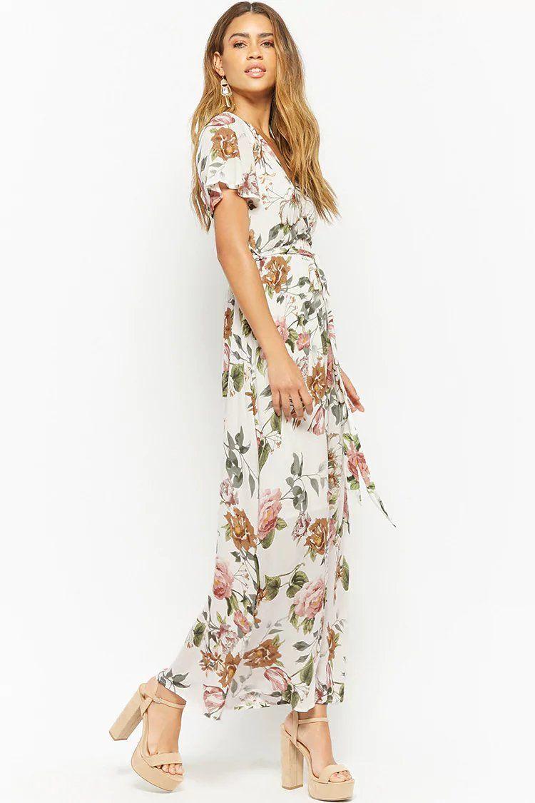 47891c38e04 Floral Surplice Maxi Dress