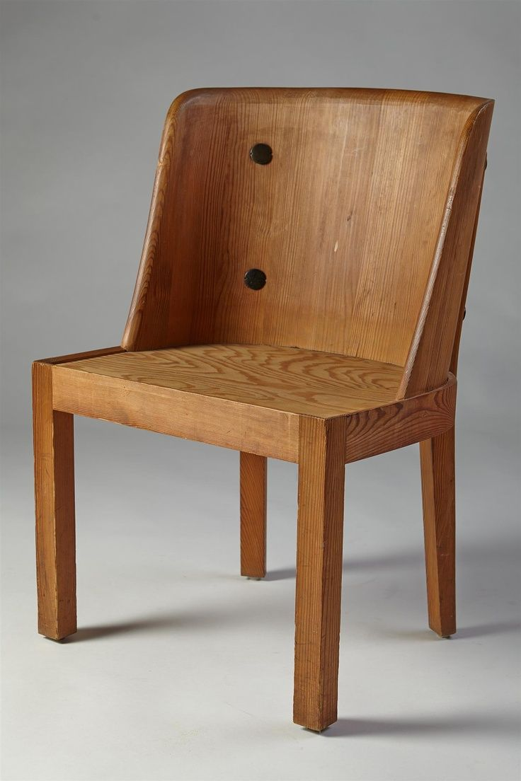 Axel Einar Hjorth; Solid Pine and Iron 'Lovö' Chair for NK, 1930s ...