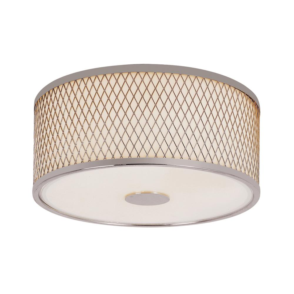 Bel Air Lighting Cardiff Polished Chrome 2 Light Flushmount With White Acrylic Drum Shade