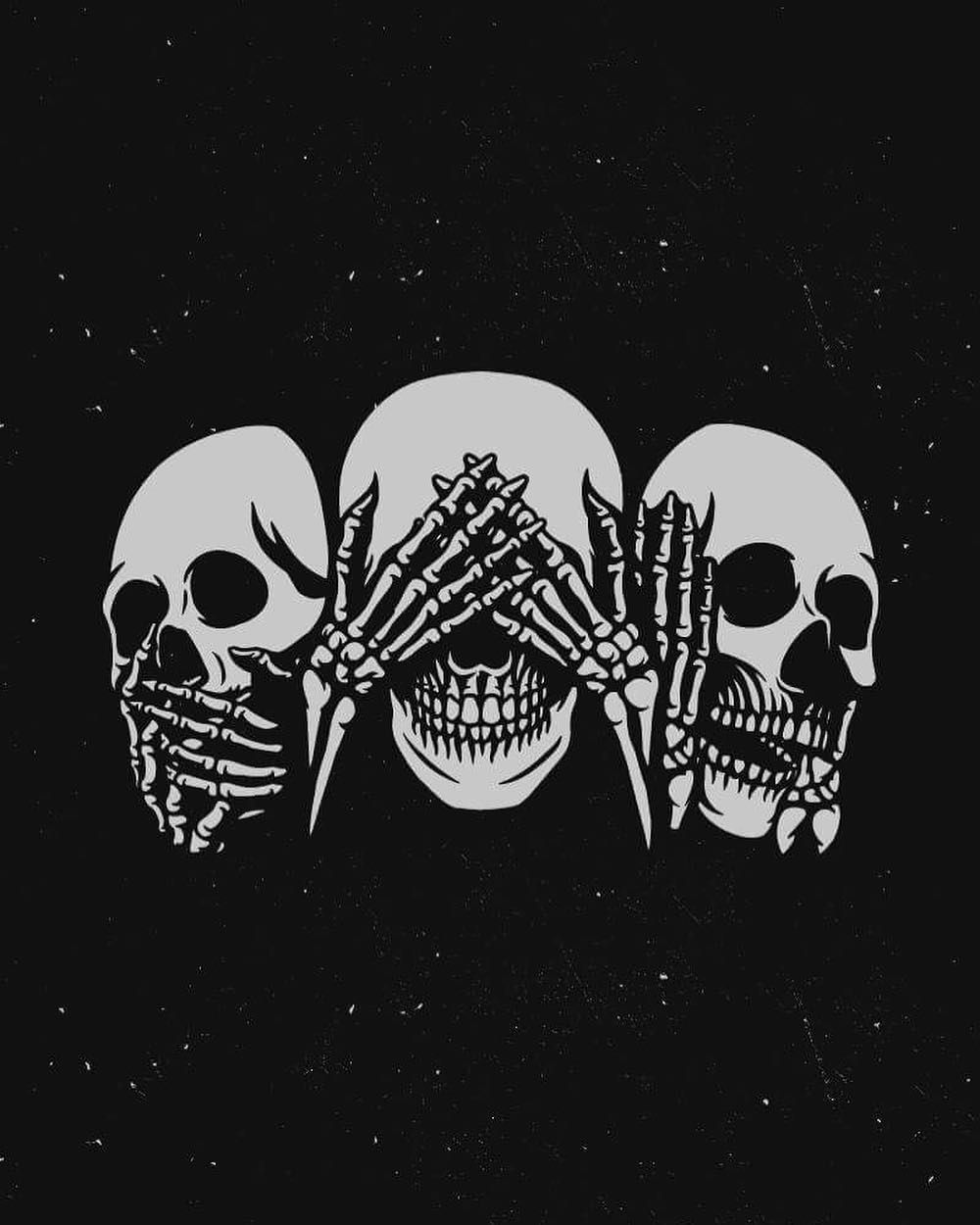 See No Evil Hear No Evil Speak No Evil Dominik Salmic Dominiksalmic On Instagram See No Evil Hear No Evil Speak No Evil Design For Sale Th Skull Wallpaper Skeleton Drawings Evil Skull Tattoo
