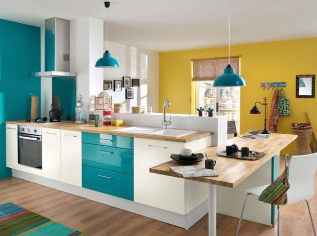 Cuisine Avec Facade Bleu Canard Et Plan Bois Clair Cuisine
