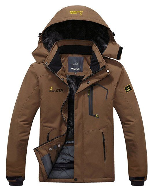 ac9aa41c330 Wantdo Men s Waterproof Mountain Jacket Fleece Windproof Ski Jacket Coffee