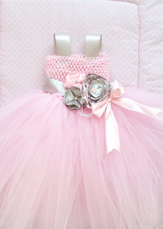 29d2eab90f1f Beautiful Pink Silver Pink Gray Satin Flower Couture Tutu Dress for ...
