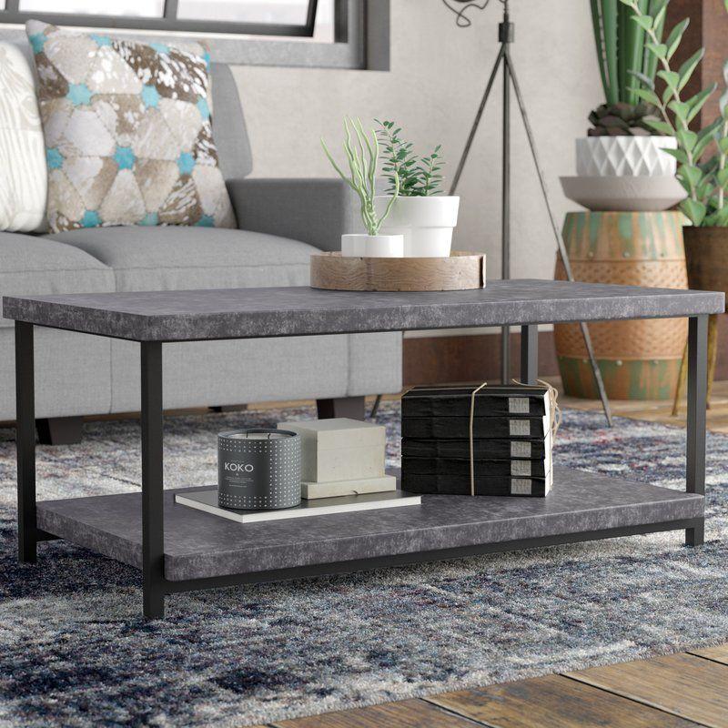 Modern Rustic Interiors Slate Faux Concrete Coffee Table Reviews Wayfair Ca Concrete Coffee Table Coffee Table Coffee Table With Storage