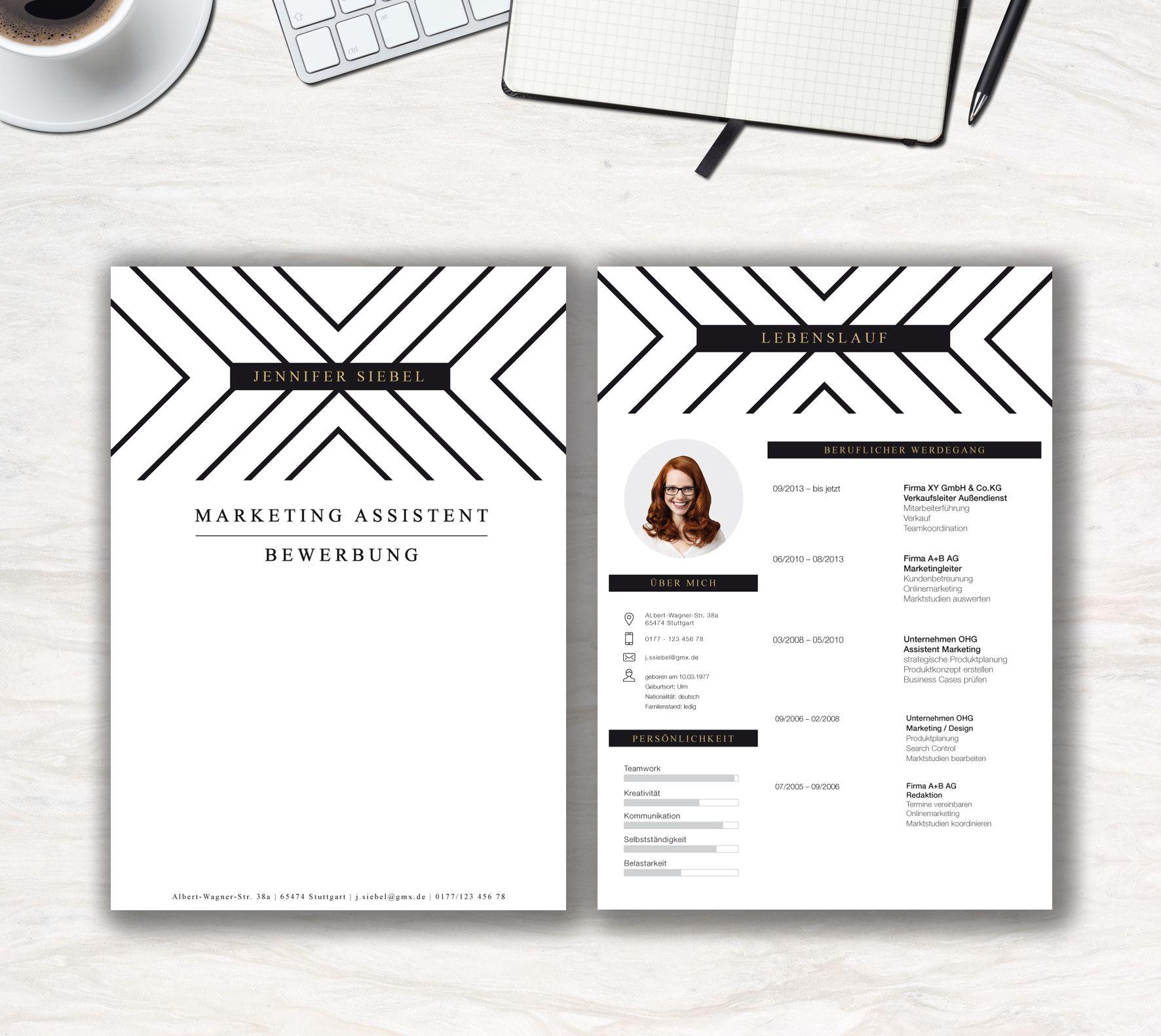"""Unsere Bewerbungsvorlage """"Classy Stripes Lite"""". Professionalität trifft auf  Kreativität. Mit der Bewerbungsvorlage"""