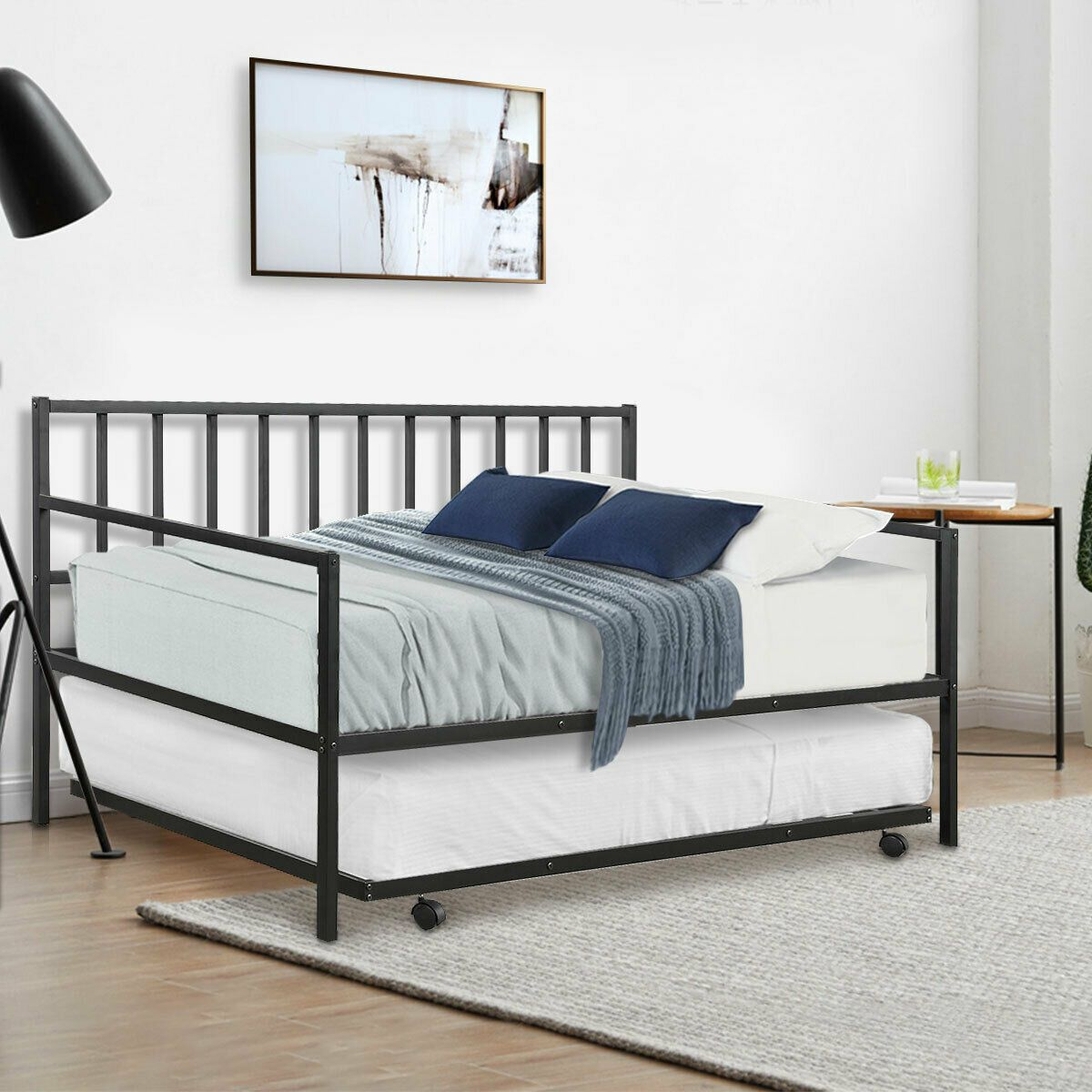 Twin Size Daybed And Trundle Frame Set Trundle Bed Bed Solid Wood Platform Bed Steel Bed Frame
