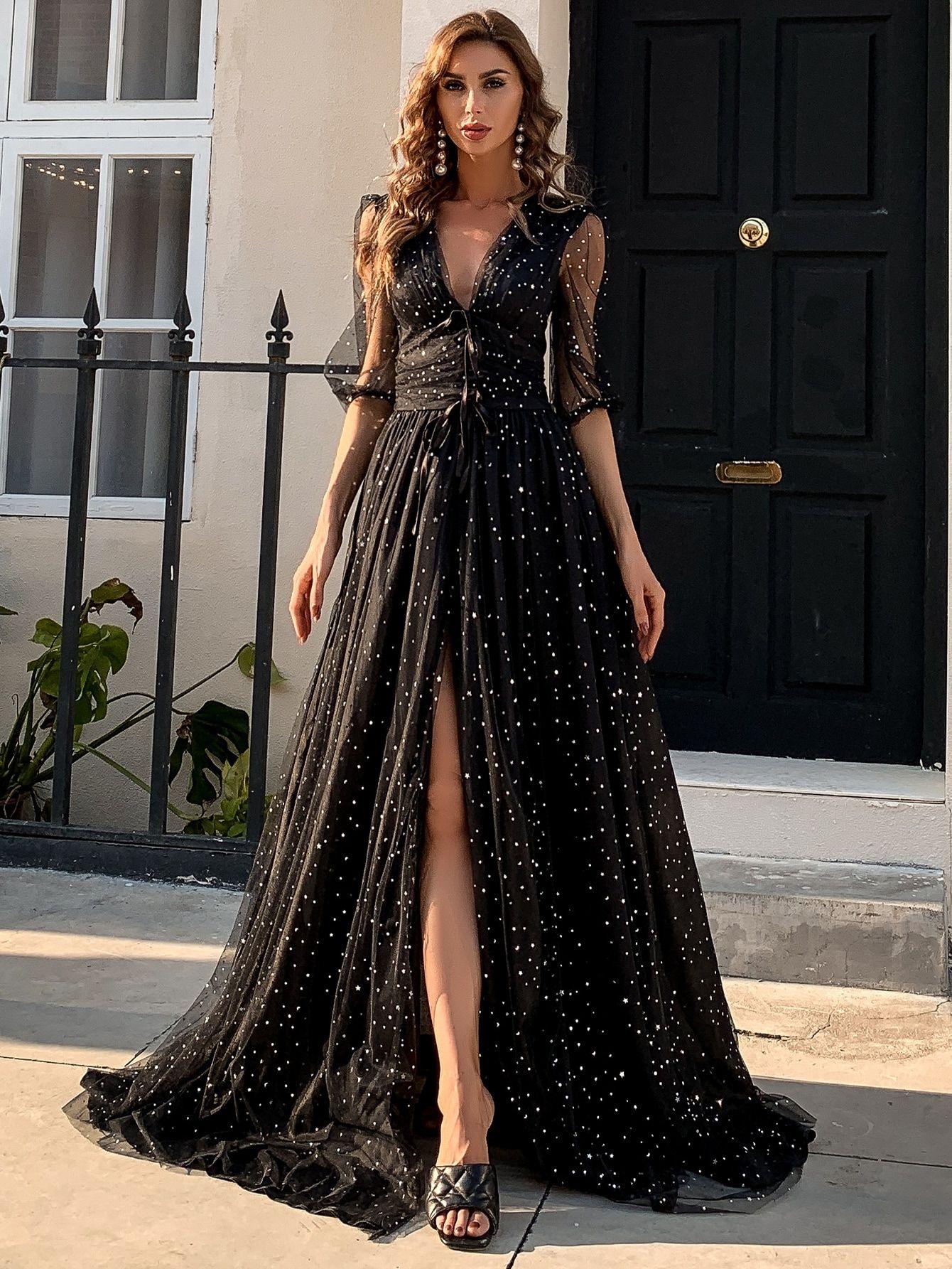 Vestido Con Malla Con Parche Con Estrella Bajo Cruzado Prom Dresses Mesh Prom Dress Dresses [ 1785 x 1340 Pixel ]