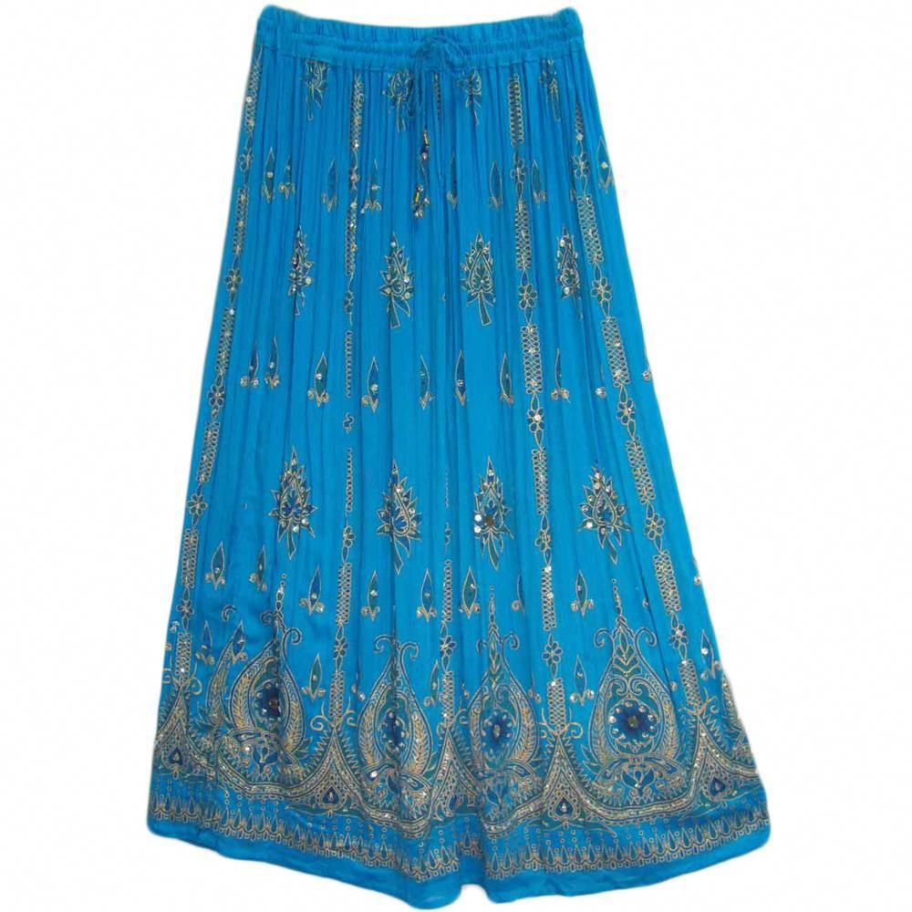5165e0f2d13 Womens Indian Sequin Crinkle Broomstick Gypsy Long Skirt  ModestSkirts