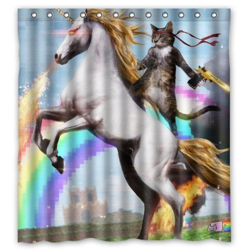 funny shower curtain. Personalized Funny Unicorn And Cat Shower Curtain, Rings Included 100% Polyester Waterproof 66 Curtain