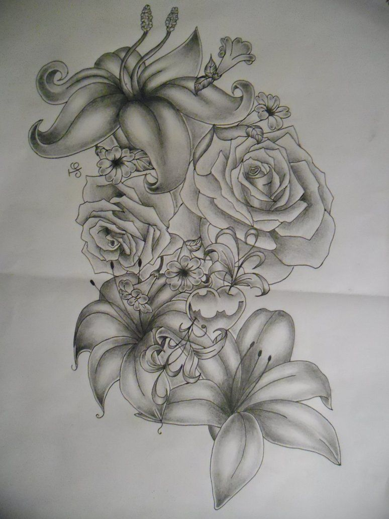 Flowers tattoo design by tattoosuzette on deviantart for Lily rose designer
