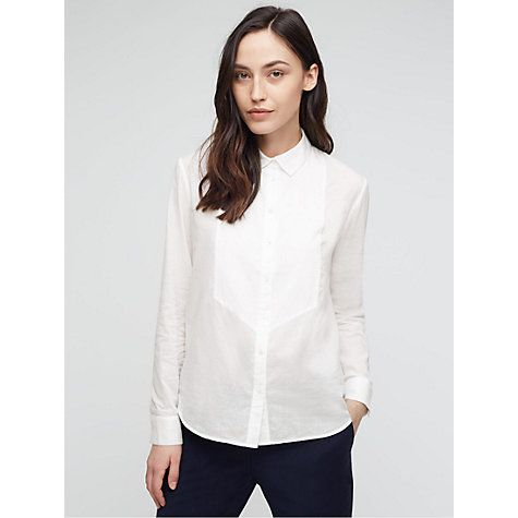 Buy Jigsaw Dobby Bib Shirt, White Online at johnlewis.com