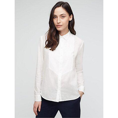 Buy Jigsaw Dobby Bib Shirt, White Online at johnlewis.com