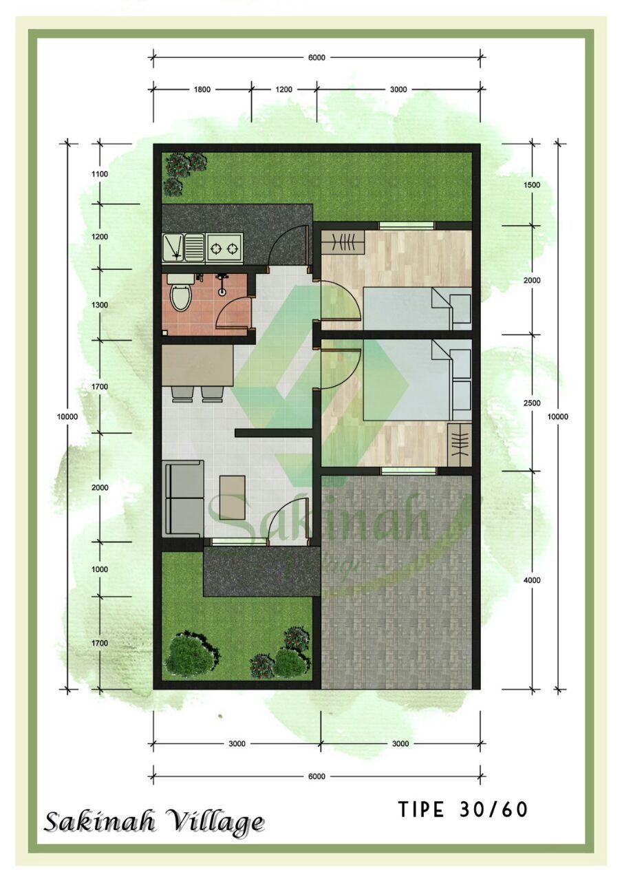 Denah Type 30 : denah, Denah, Rumah, Lantai, Desain, Dekorasi