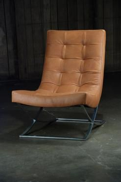 Etonnant Sicily Camel Leather Chair On Metal Nickel Base. Seat Height 16
