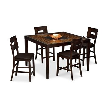American Signature Furniture Cyprus Ii Dining Room 5 Pc Counter Height Dinette 699 99 Value City Furniture Furniture Upholstered Stool
